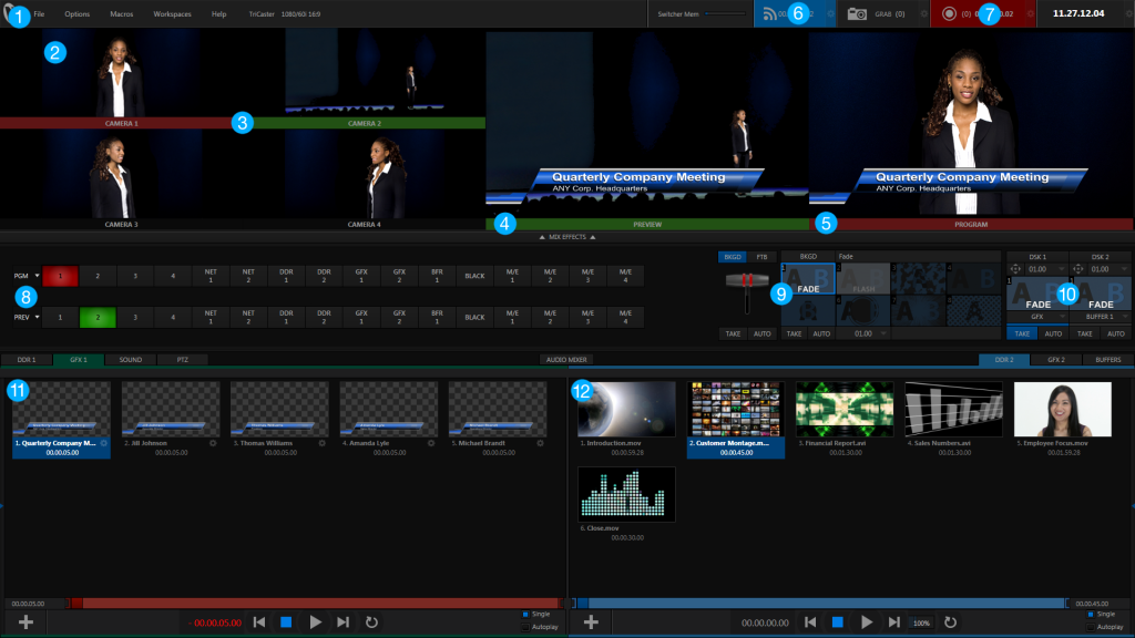 NewTek TriCaster™ Mini on-screen interface,