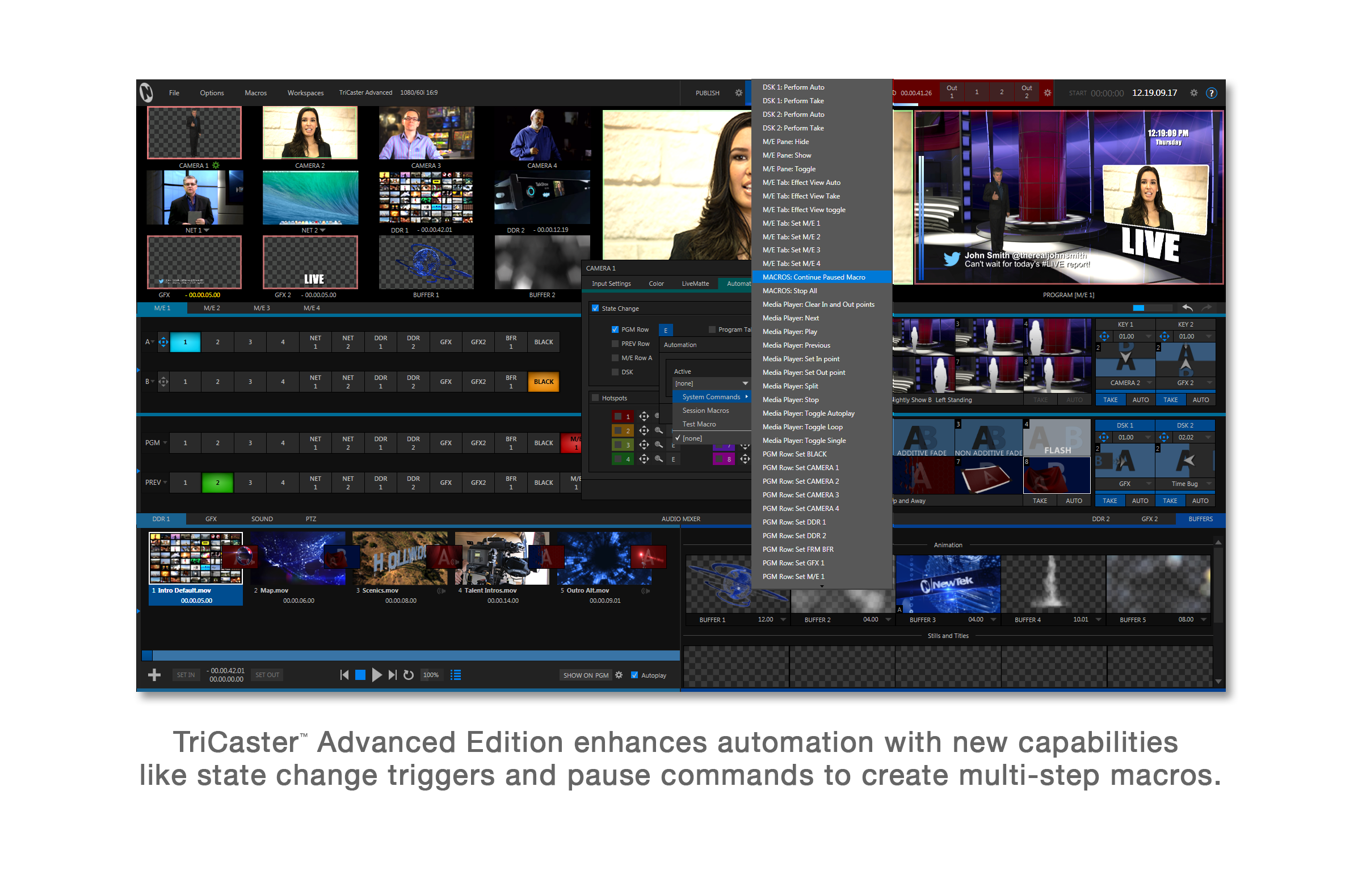 TriCaster Mini user interface with TriCaster Advanced Edition software - Input Automation tab and se