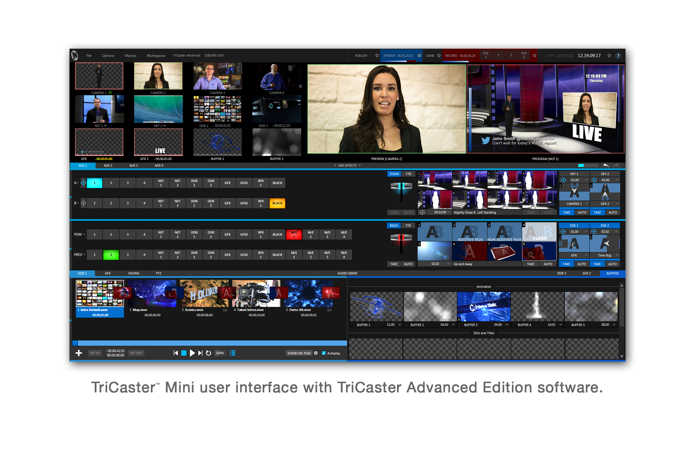 TriCaster Mini user interface with TriCaster Advanced Edition software