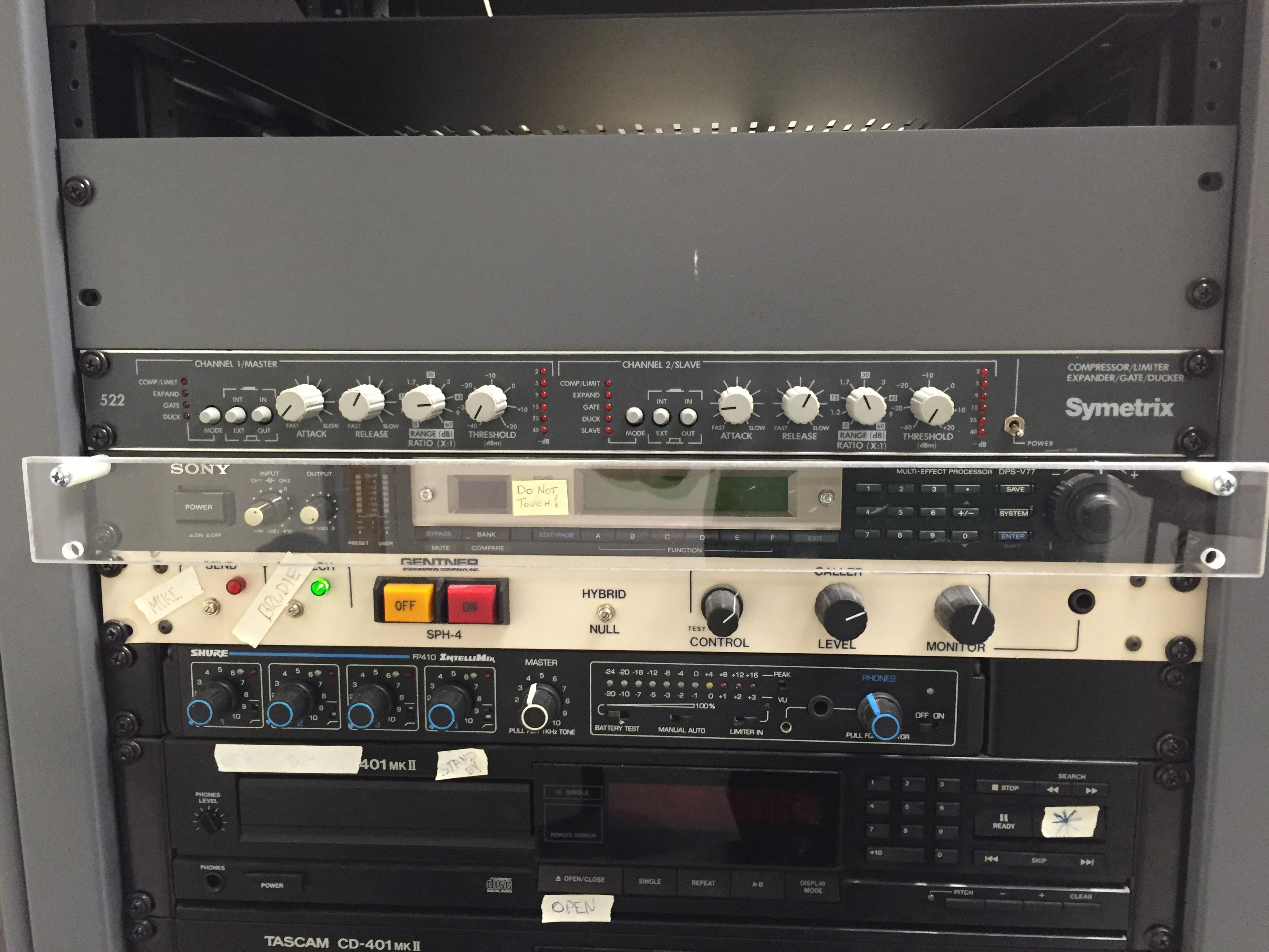 Audio Rack: Completely wired, with equipment, drawer, patches